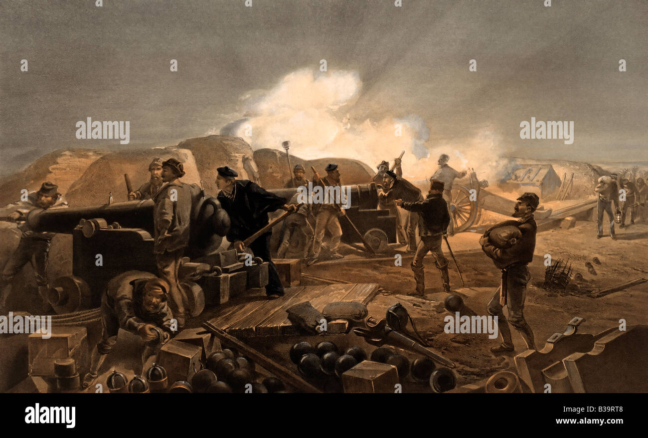 Hot Night in  the batteries - illustration of British Artillery during the Crimean War - Stock Image