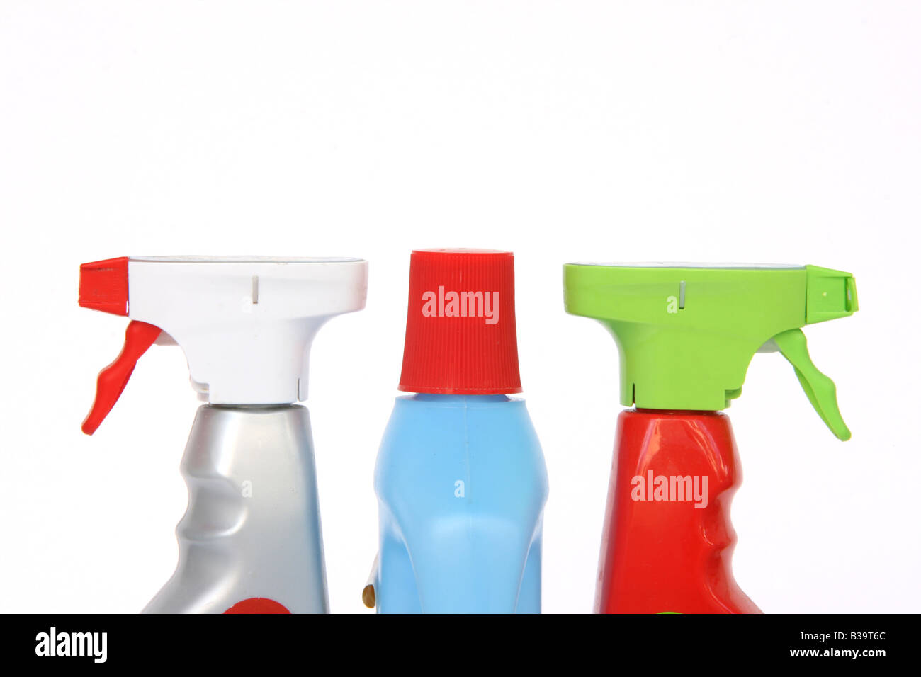 cleansing tools bottle and sprayers detail isolated with copy space - Stock Image