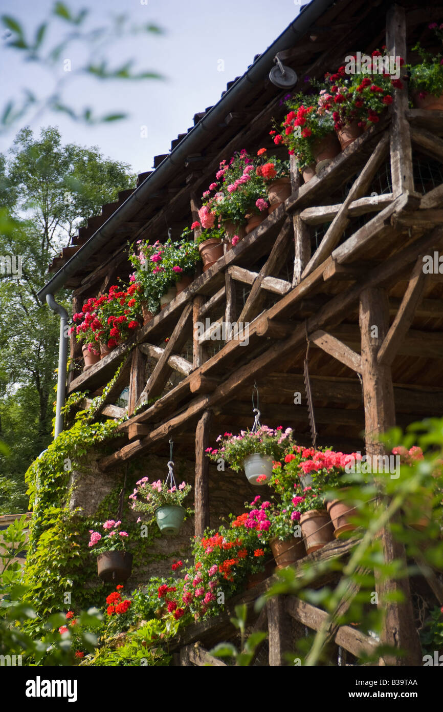 Colourful summer flower balconies in St Cirq Lapopie, Lot Valley, France - Stock Image