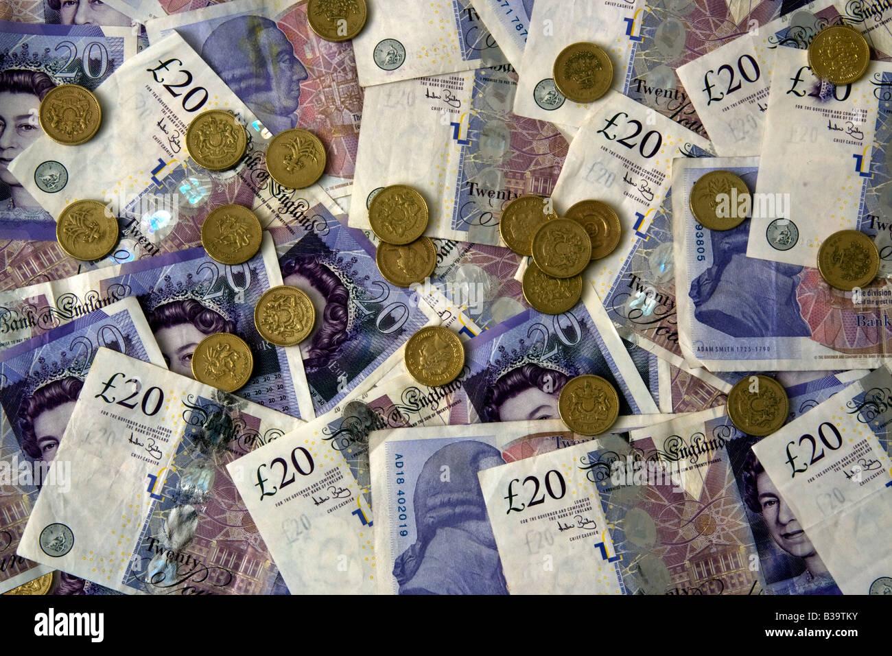 Twenty Pound Notes and Coins Money - Stock Image