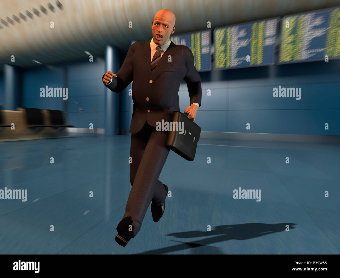 Computer Illustration Of A Businessman Running In An Airport - Stock Image