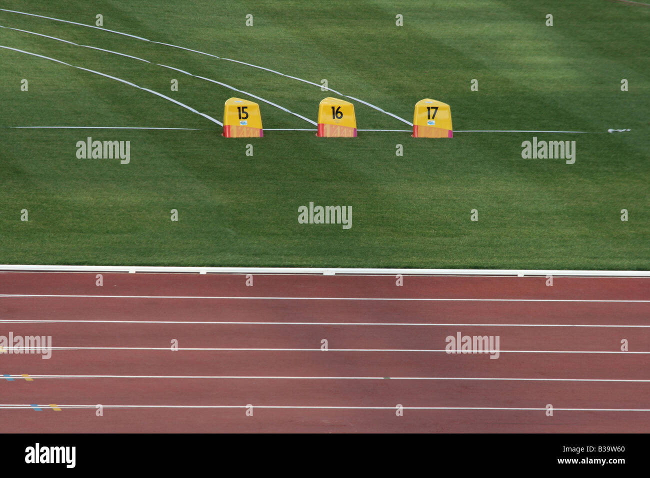 detail from empty athletics race track and field - Stock Image