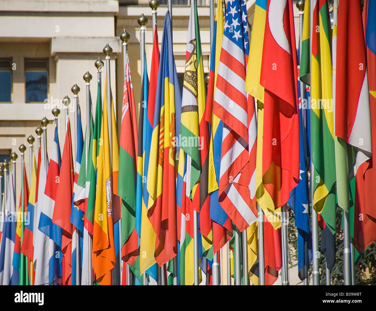 Flags of many nations outside the UN - Stock Image