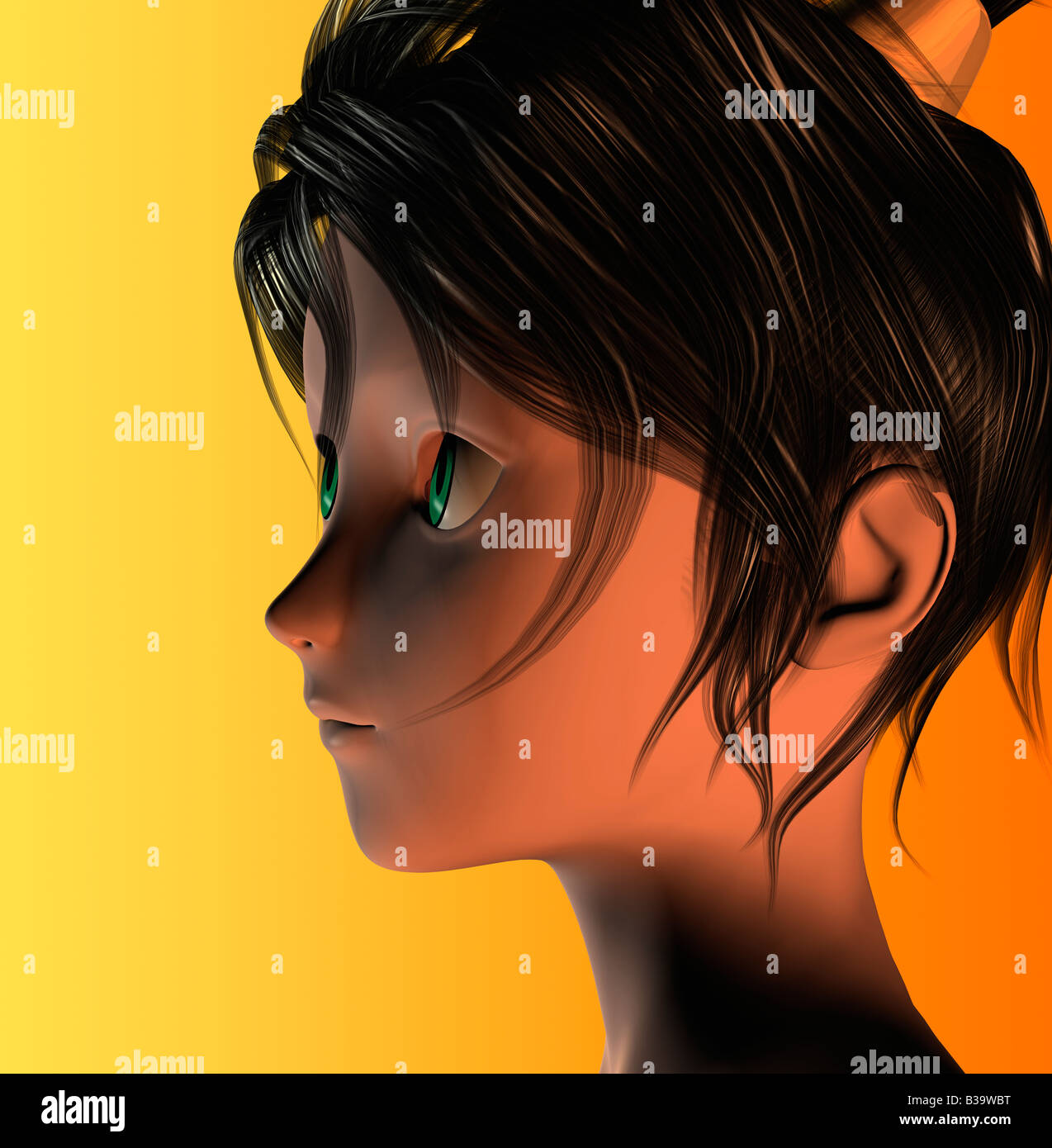 Computer Illustration Of Young Woman - Stock Image