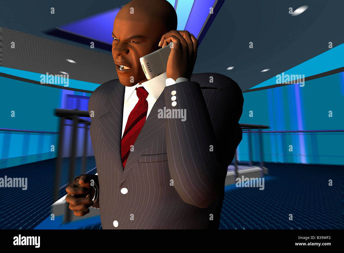 Computer Illustration Of A Businessman Talking On A Mobile Phone - Stock Image