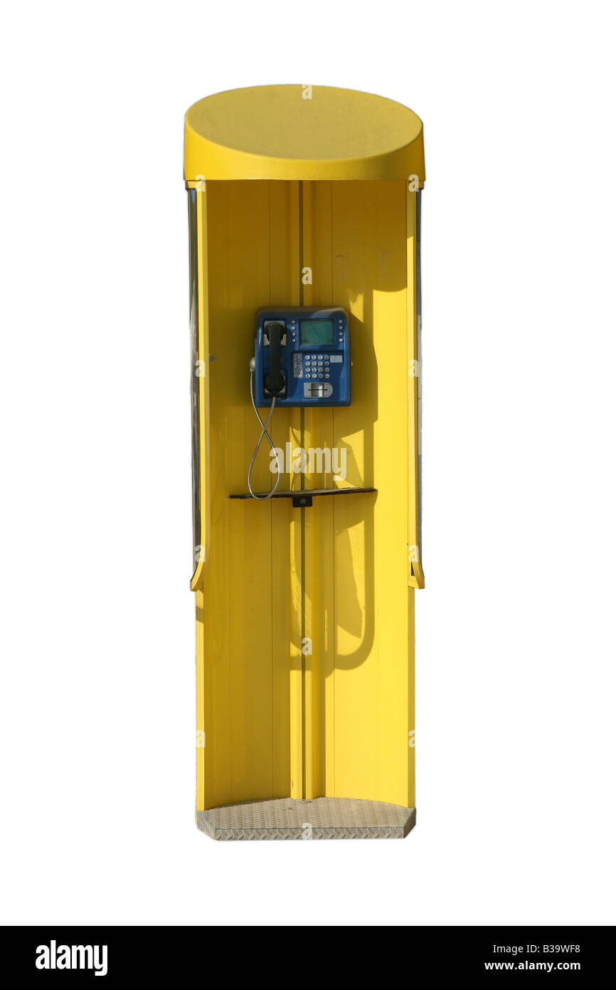 yellow public phone booth isolated with clipping path - Stock Image