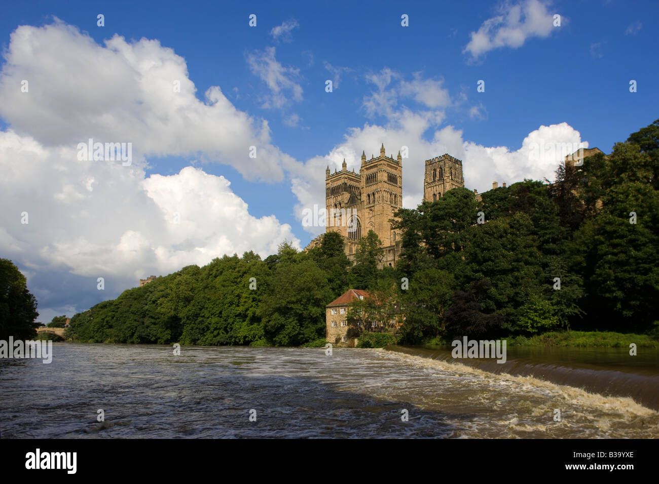 Durham Cathedral and River Wear Tyne and Wear England UK - Stock Image