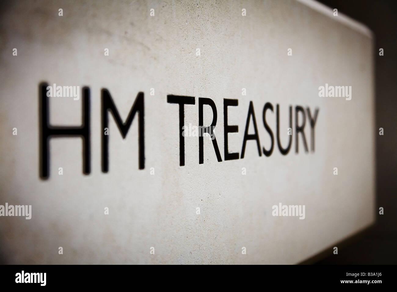 HM Treasury government building entrance Whitehall London UK - Stock Image