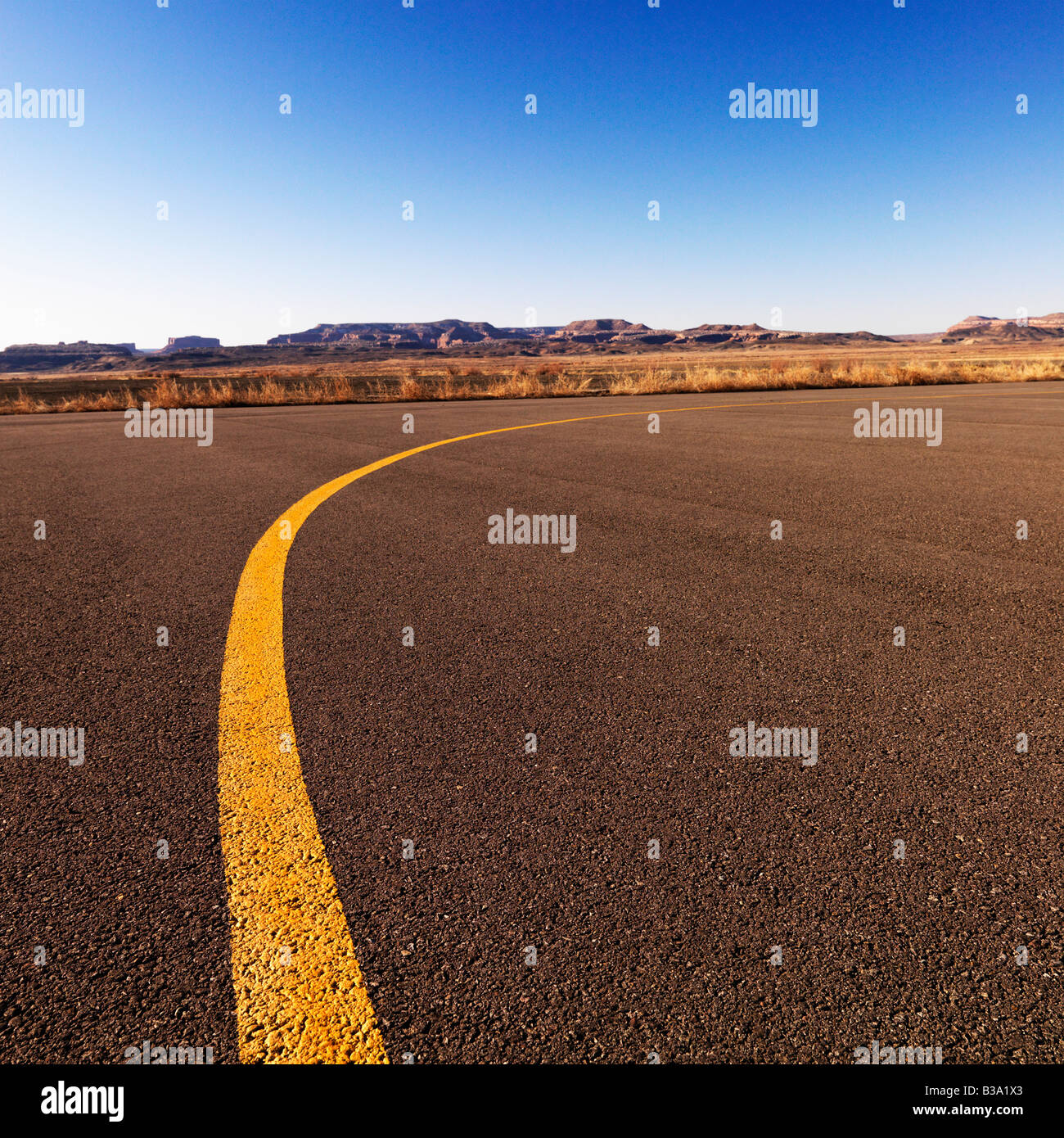 Yellow line on tarmac at Canyonlands Field Airport Utah United States - Stock Image