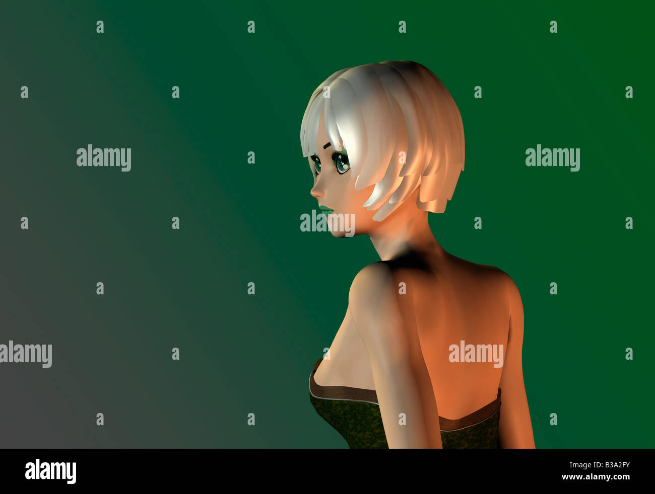 Computer Illustration Of Young Woman Looking Over Her Left Shoulder - Stock Image