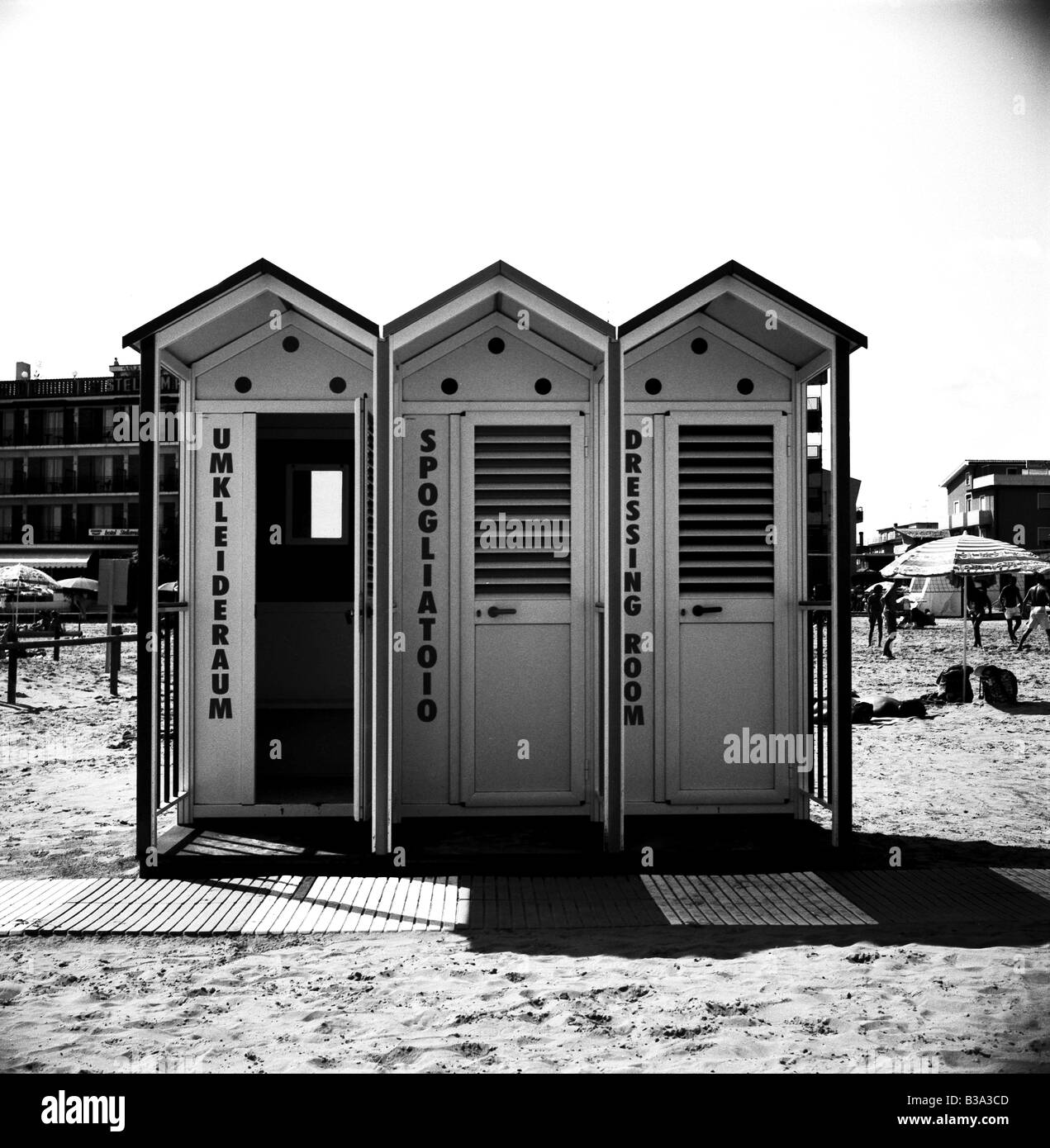 dressing room on the beach in Caorle, Italy - Stock Image