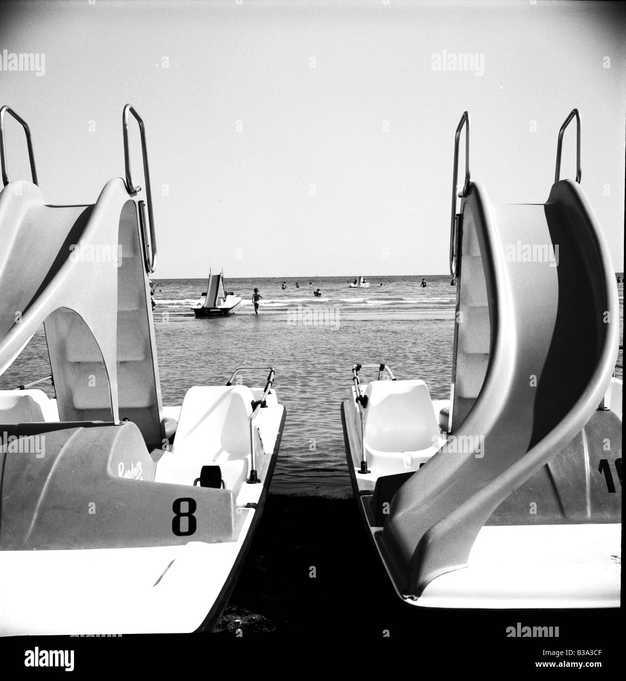 paddleboats in Caole, Italy - Stock Image