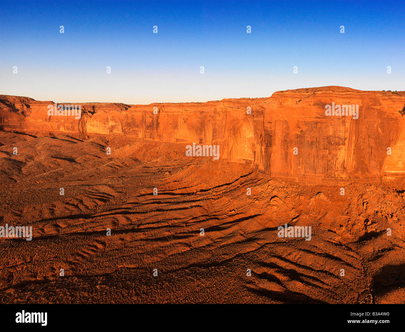 Scenic landscape of canyon in Monument Valley near the border of Arizona and Utah United States - Stock Image