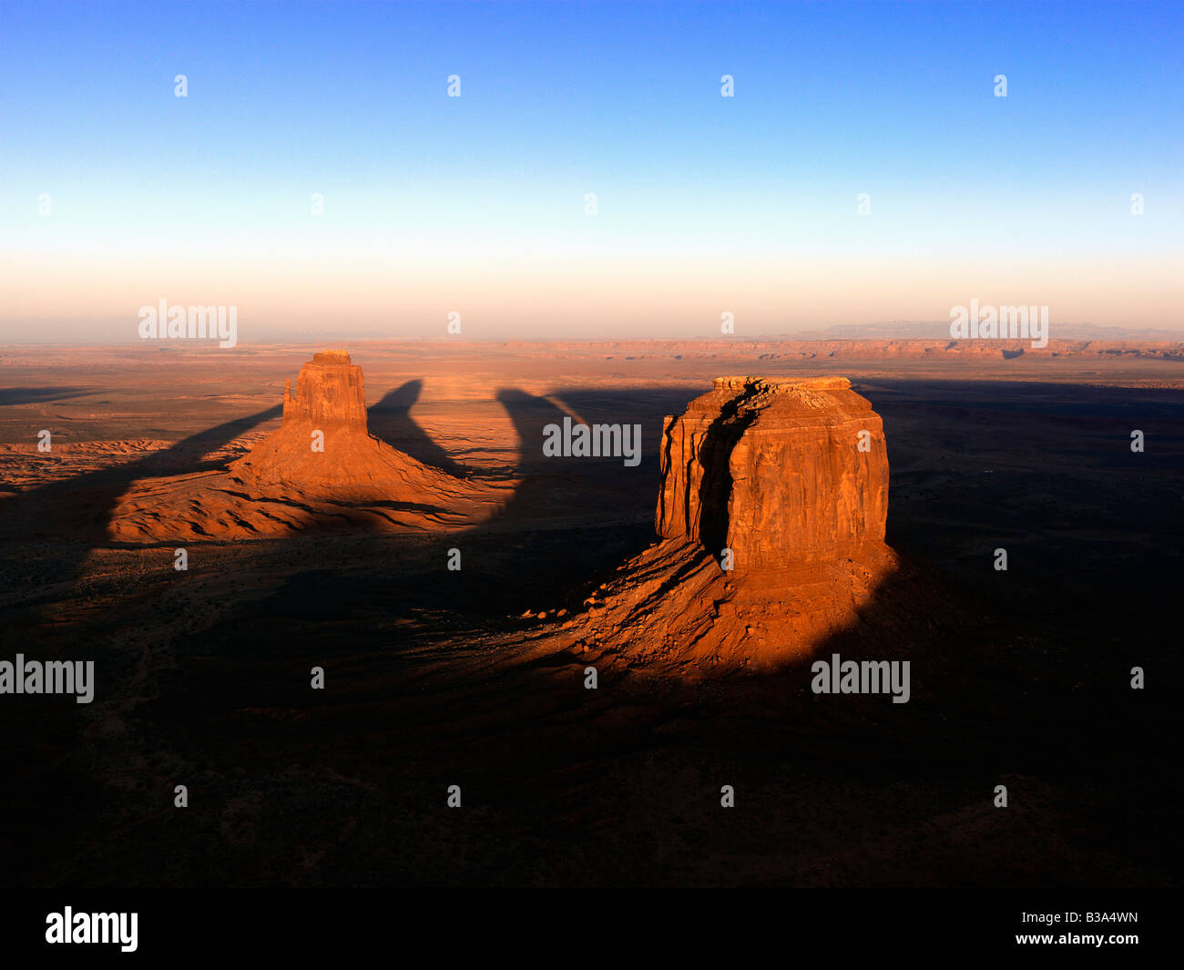 Scenic landscape of mesas in Monument Valley near the border of Arizona and Utah United States Stock Photo