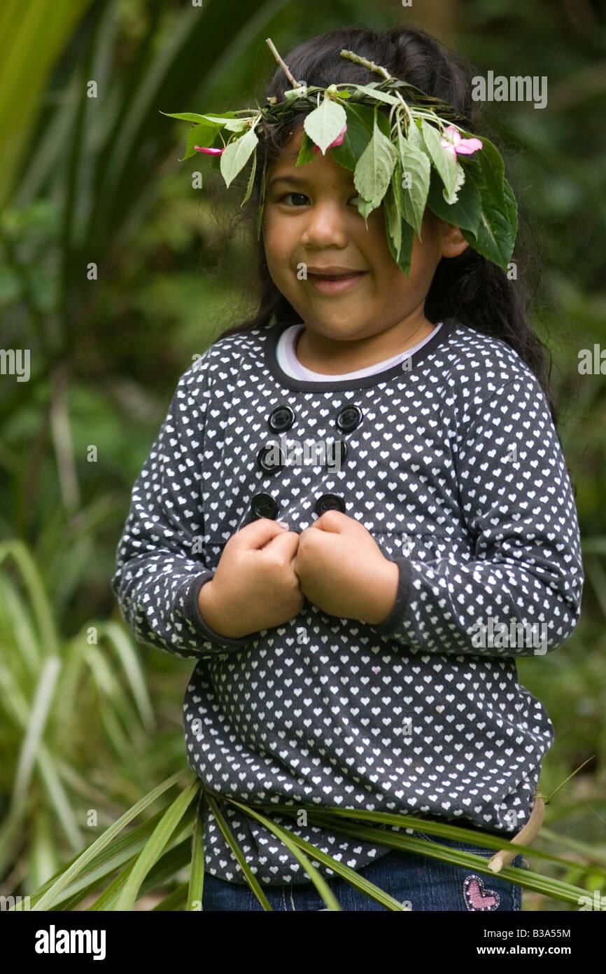 pretty Polynesian girl age 7 - Stock Image