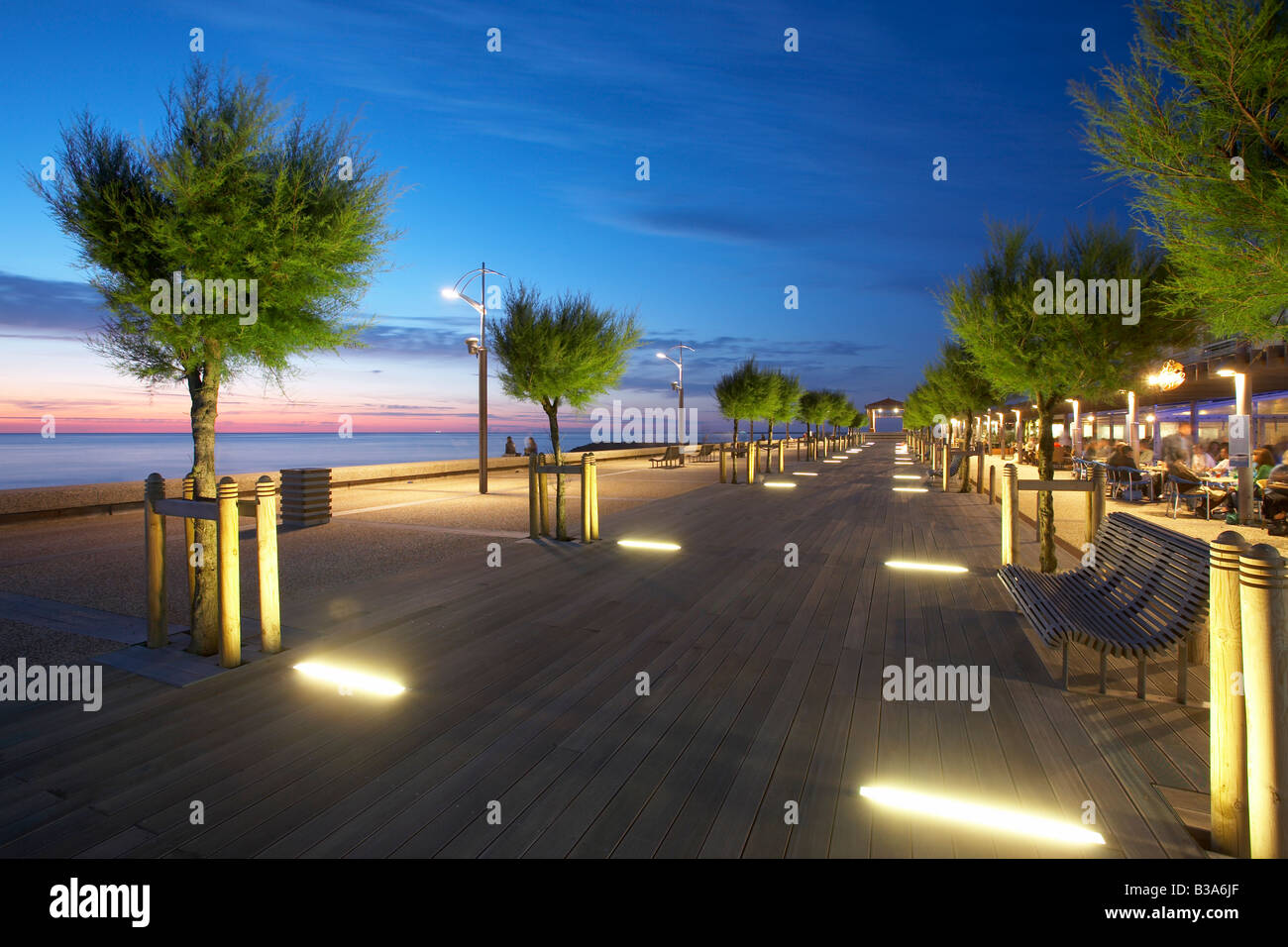 Chambre d Amour esplanade by night in Anglet France - Stock Image