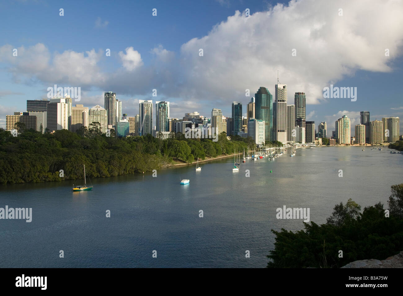 Australia, Queensland, Brisbane, Central Business District viewed from Kangaroo Point - Stock Image