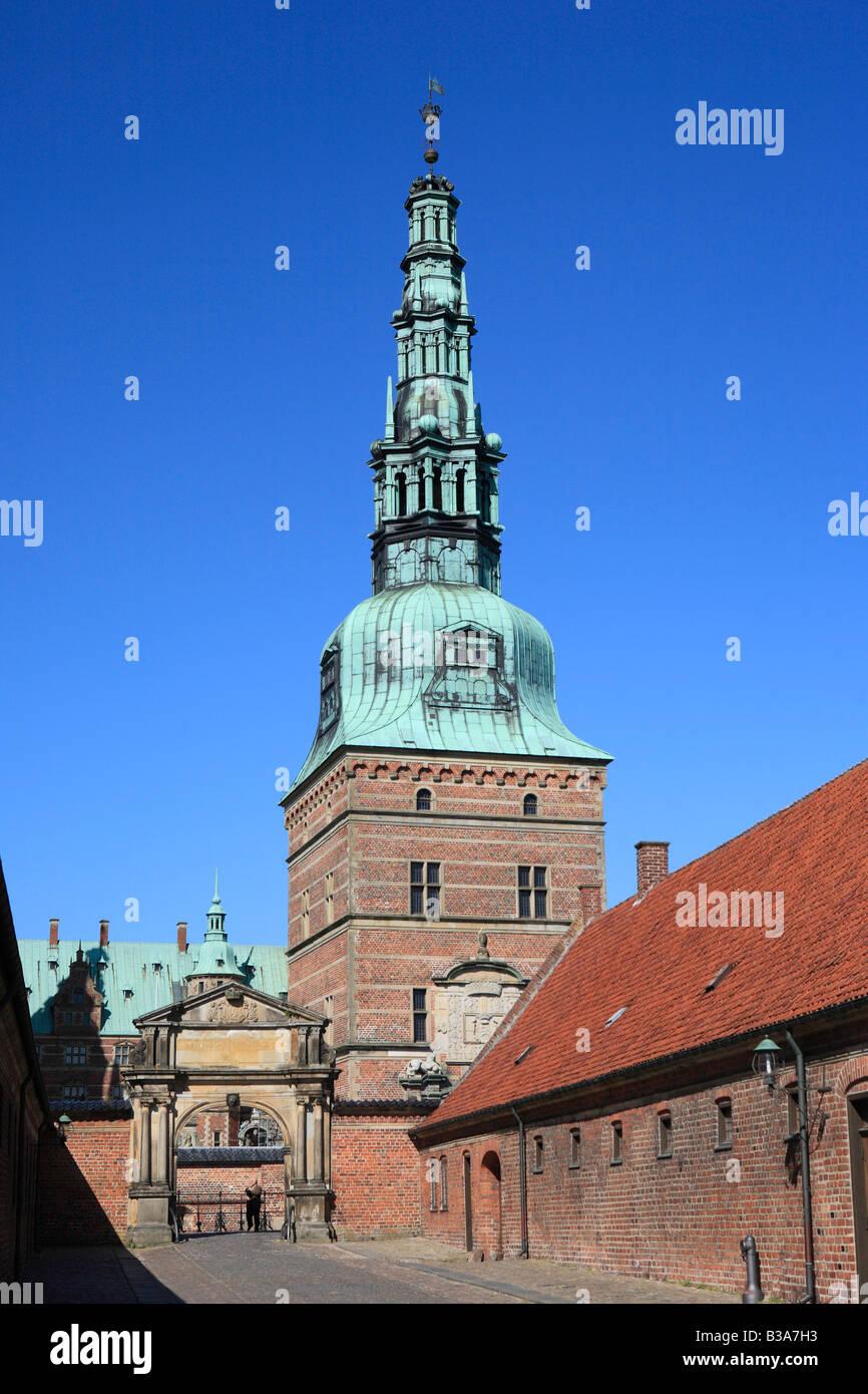 Frederiksborg palace (1602-1620), Hillerod, near Copenhagen, Denmark - Stock Image
