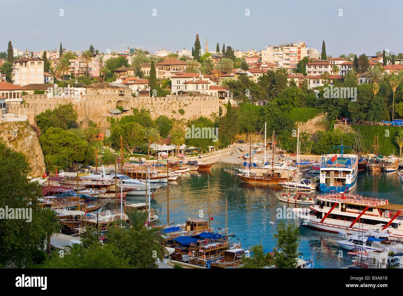 Marina and Roman Harbour, Kaleici, Antalya, Turkey - Stock Image