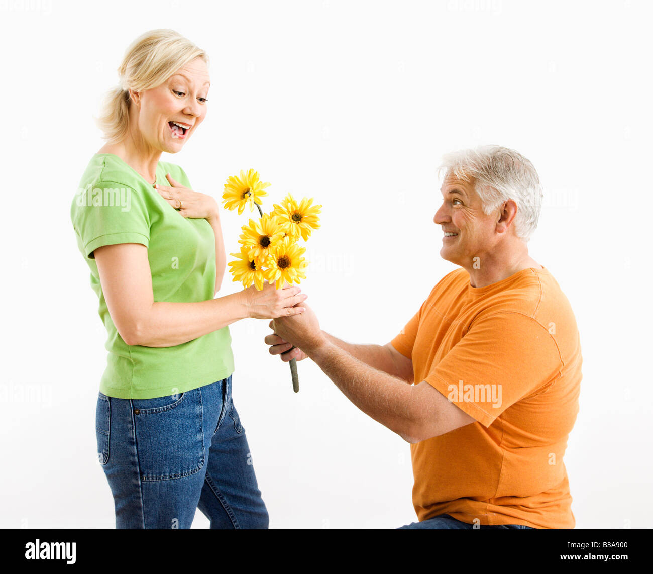 Middle aged man on bended knee giving woman bouquet of yellow flowers - Stock Image