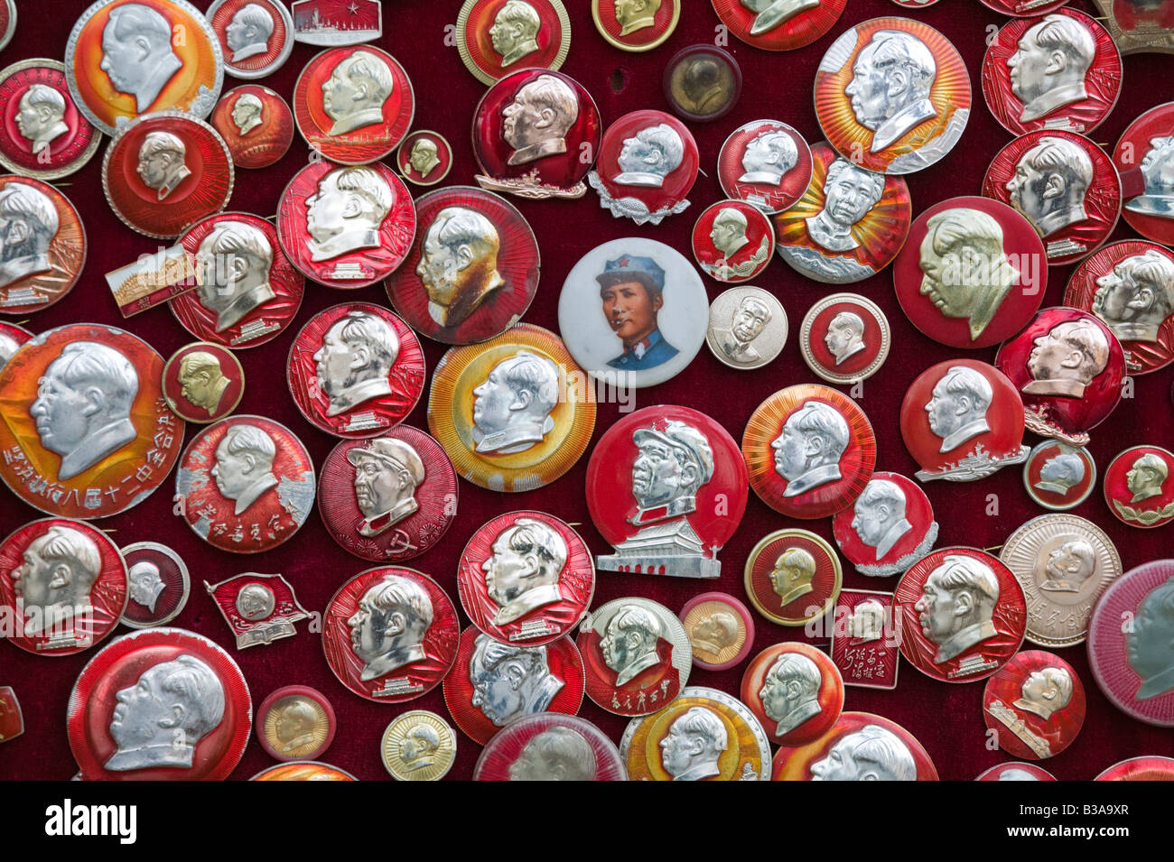 China, Beijing, Xuanwu District, Liulichang Xijie, Beijing's Antiques Street, Collectible Chairman Mao pins - Stock Image
