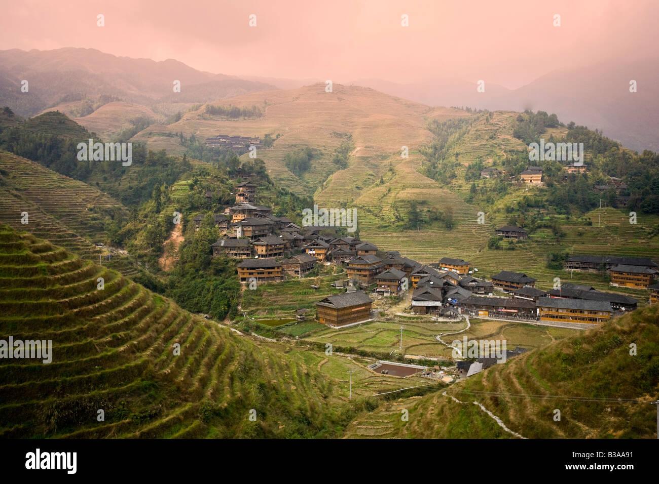 Yao Village of Dazhai, Longsheng, Guangxi Province, China Stock Photo