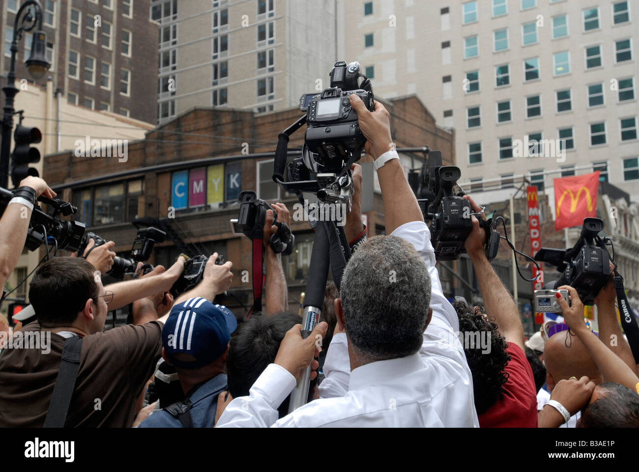 A crowd of photographers do Hail Marys in an attempt to get a shot at the Dominican Independence Day Parade in New - Stock Image