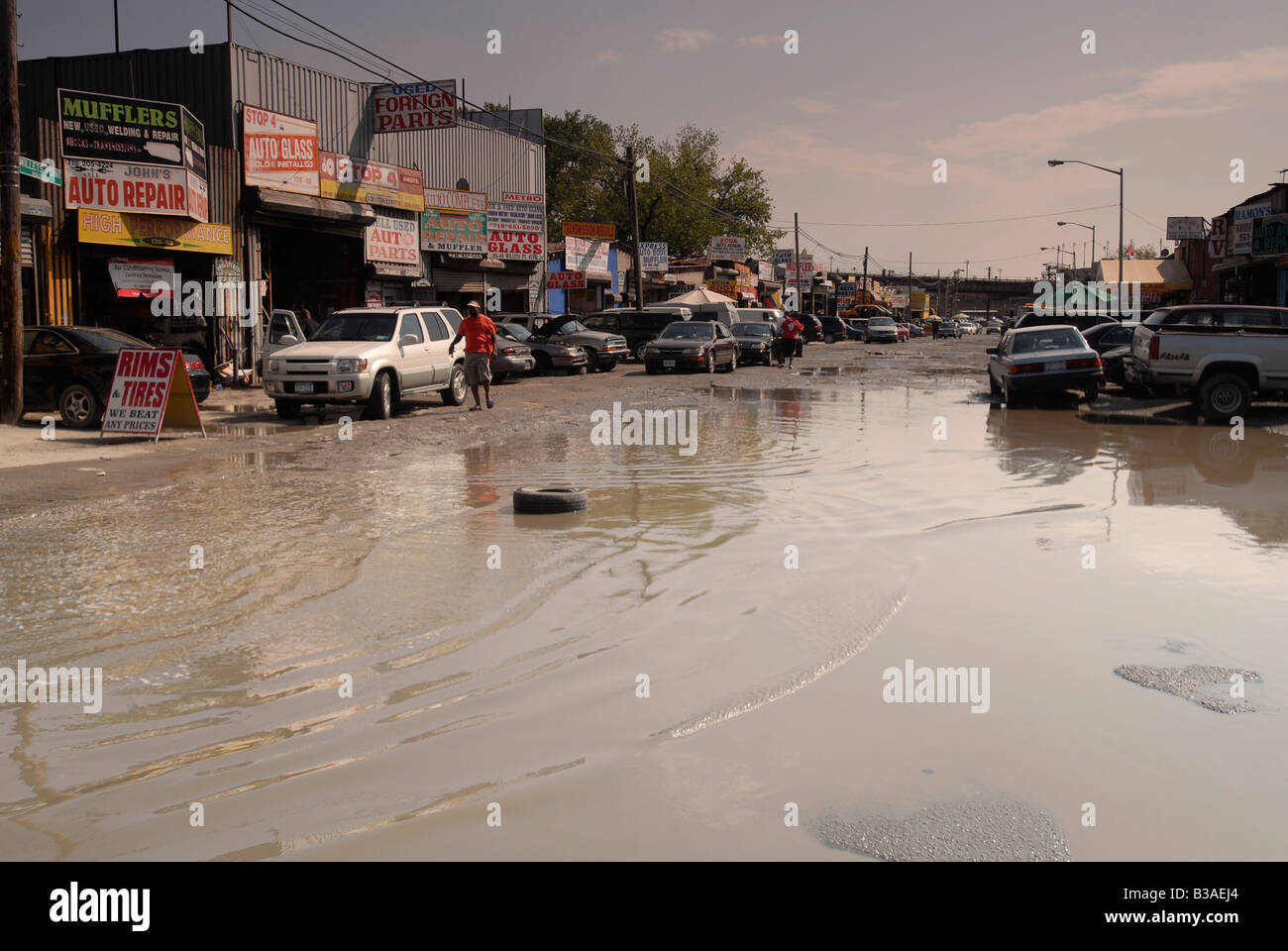 Automobile repair related businesses take up the bulk of the industry in Willets Point in the New York borough of Stock Photo