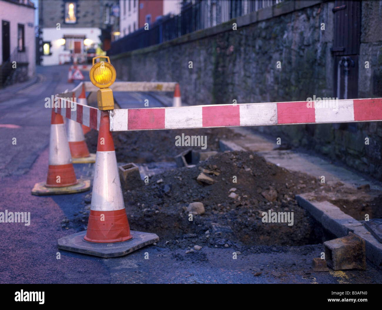 road works red and white barrier - Stock Image