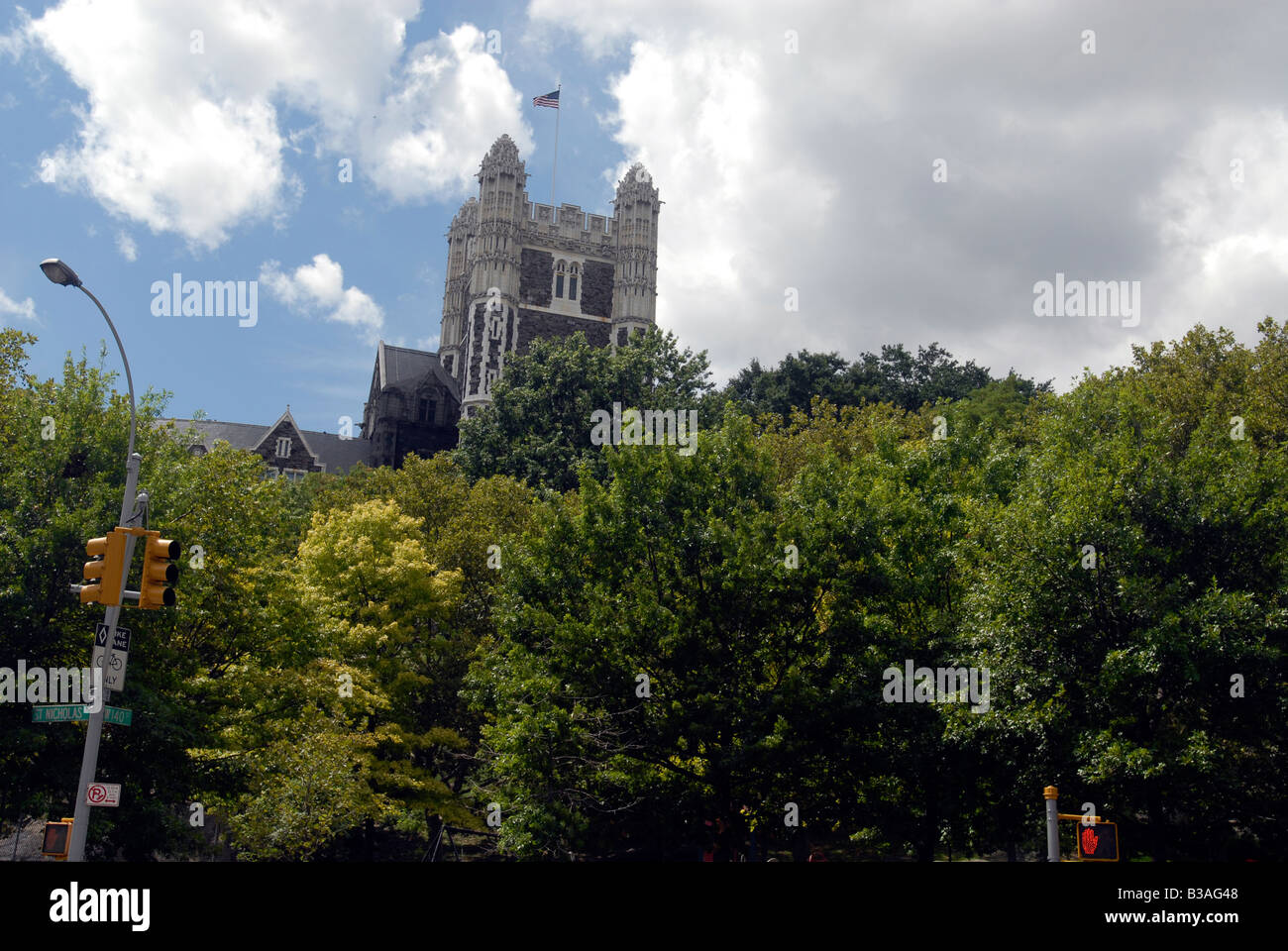 Shepard Hall of City College in Morningside Heights rises above Morningside Park in New York - Stock Image