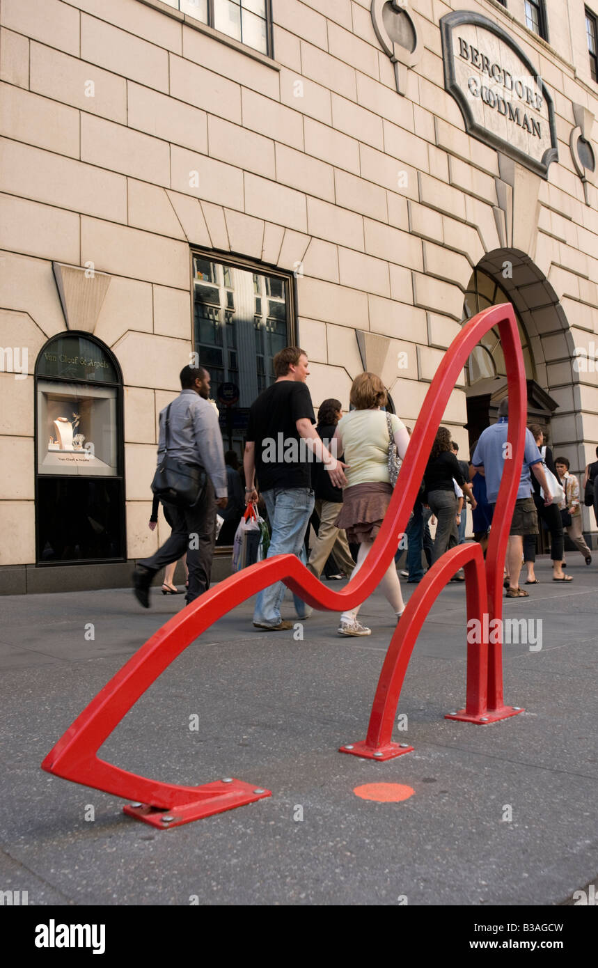 David Byrne Bicycle Rack in front of Bergdorf Goodman on FIfth Avenue in Manhattan. ©Stacy Walsh Rosenstock - Stock Image