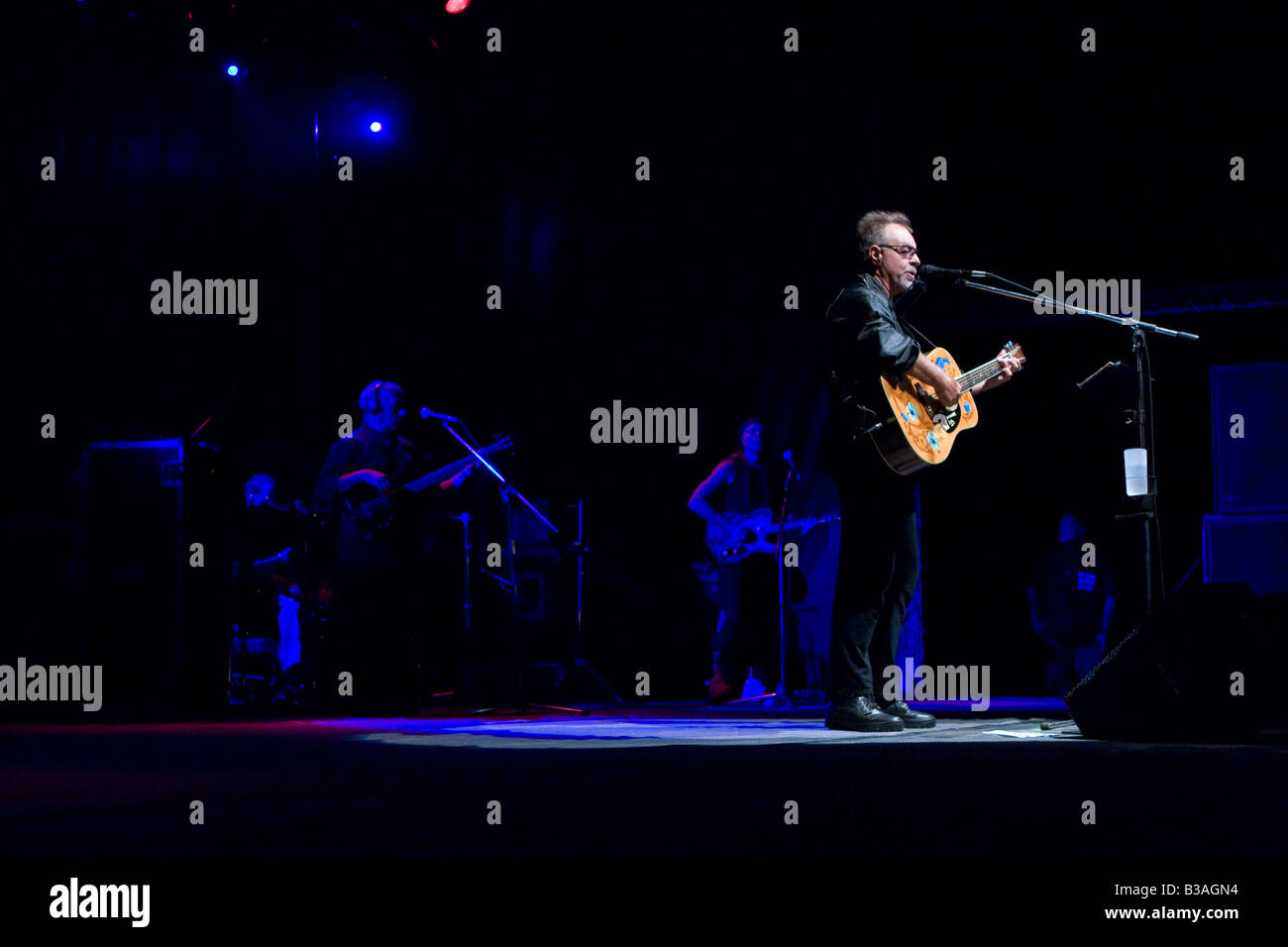 Argentinian folk musician Leon Gieco in a concert in Cordoba Argentina Stock Photo