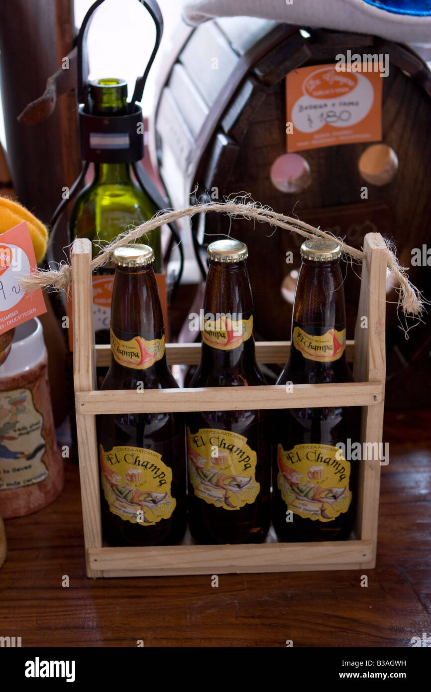 Traditional artisan craft beer El Champa from Villa General Belgrano Cordoba Argentina - Stock Image