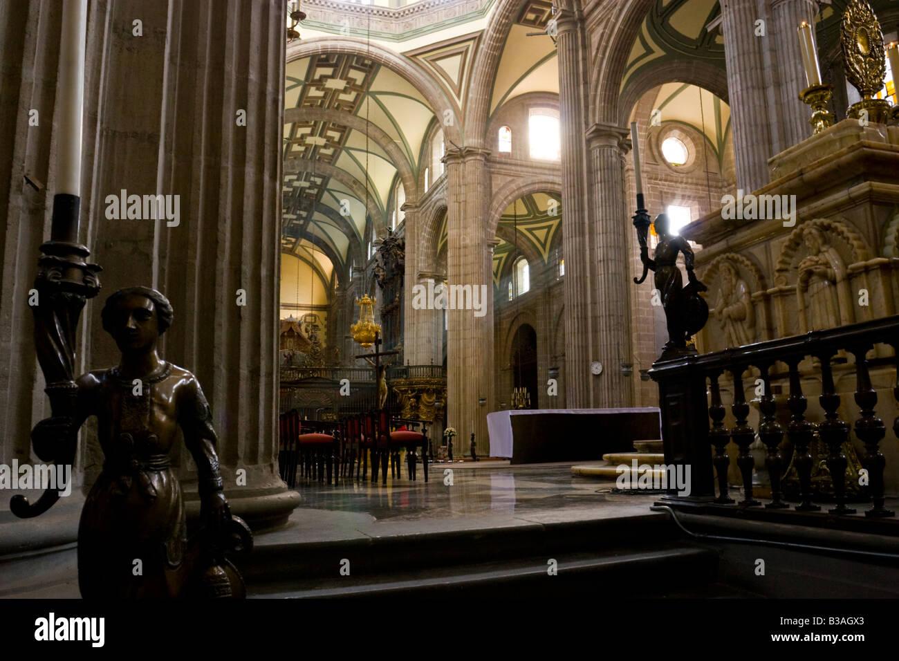 Interior view of Mexico City's Baroque Metropolitan Cathedral. El Catedral Metropolitana. - Stock Image