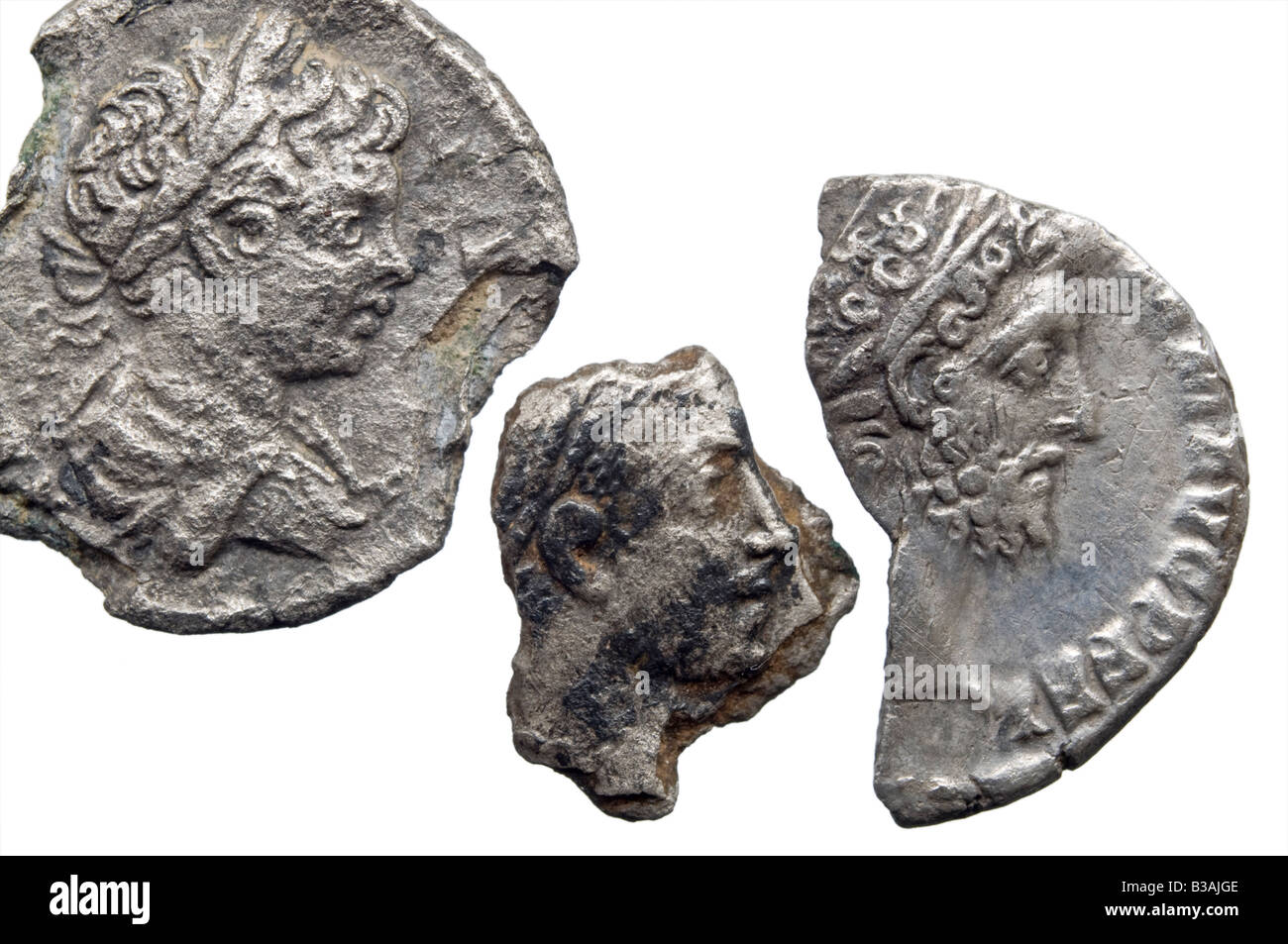 Pieces of silver Roman Coins showing Emperors heads - Stock Image