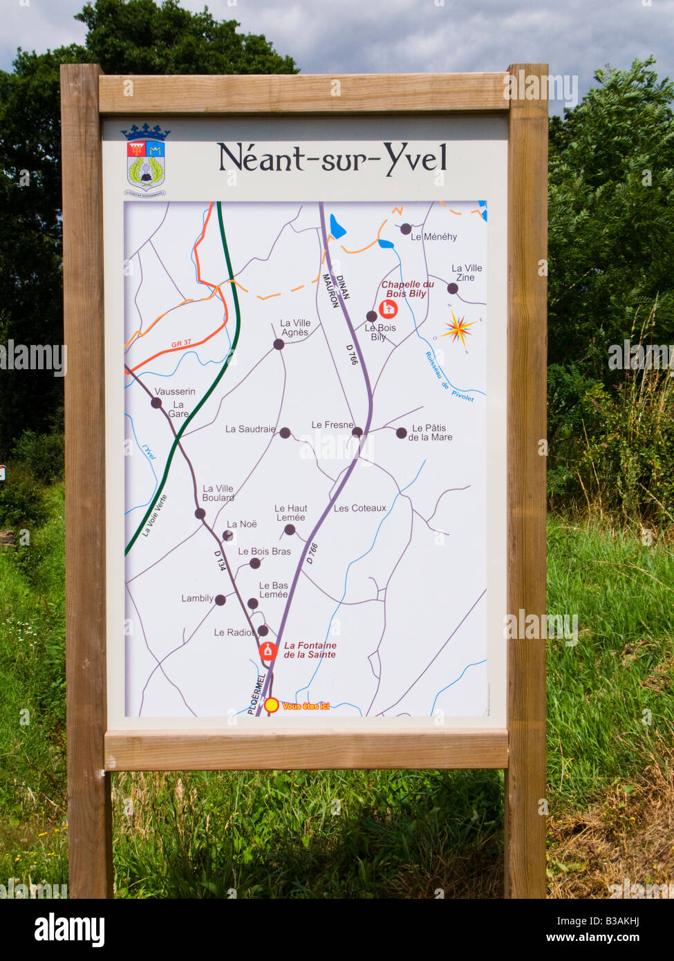 Map to the small French village Néant sur Yvel Morbihan Brittany France Europe - Stock Image