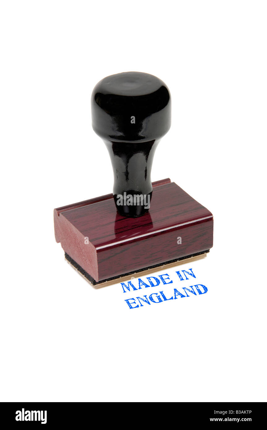 Traditional wooden rubber stamp showing Made in England - Stock Image