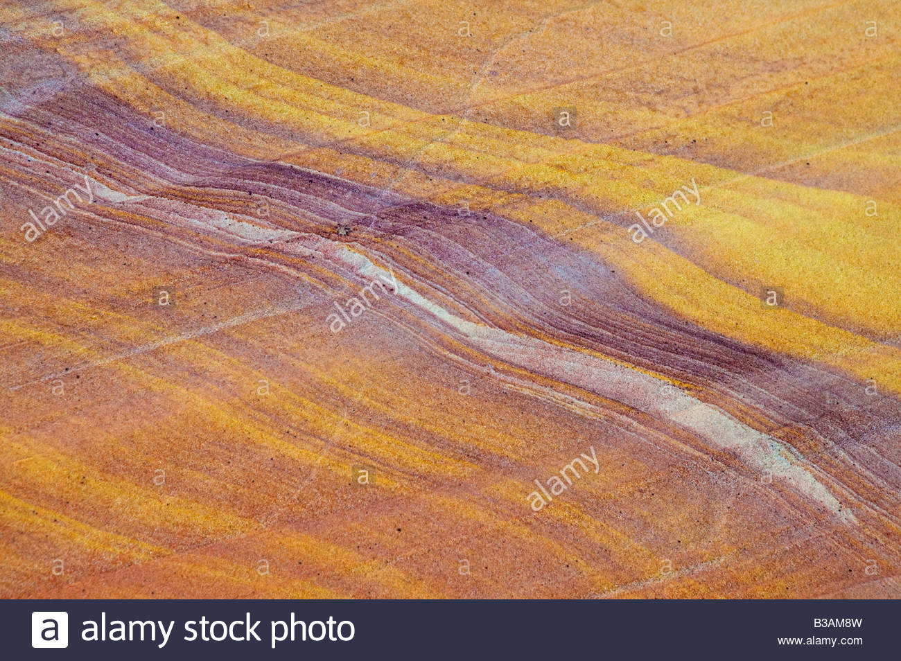 The standstone in a wash in the Valley of Fire State Park Nevada shows a colorful streaked pattern. - Stock Image
