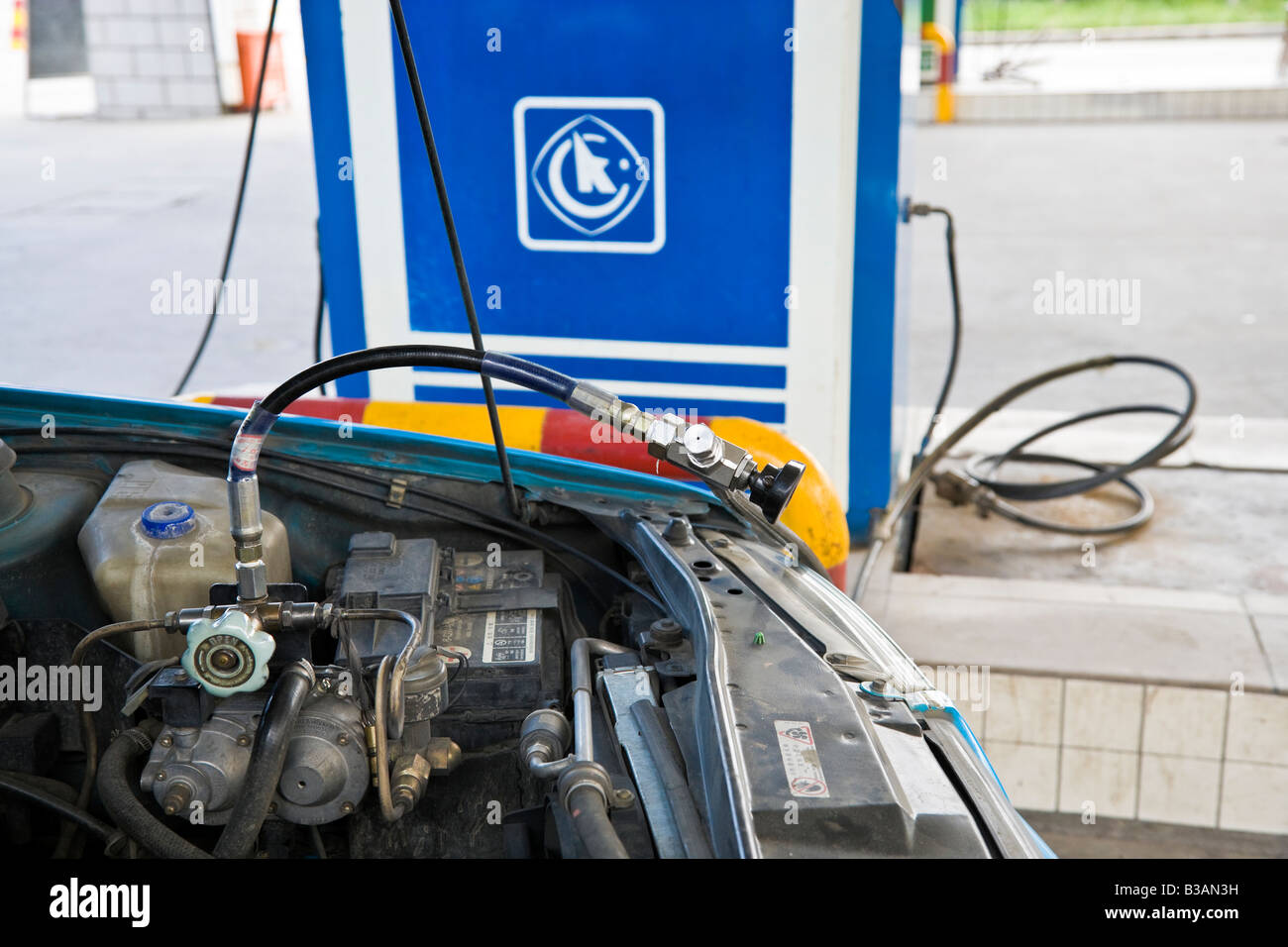 Car refueling with LPG Liquified Petroleum Gas in China JMH3259 - Stock Image