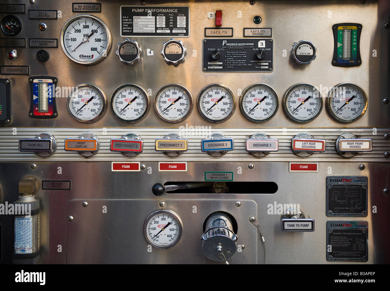 Water hose and pump control valves and gauges on a fire engine. - Stock Image