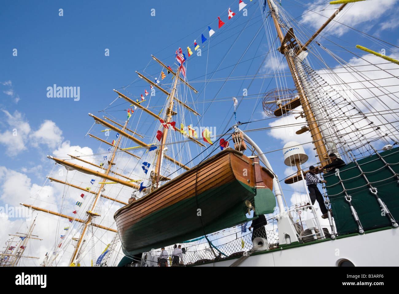 Wooden lifeboat on Cuauhtemoc three masted Barque from Mexico in Tall Ships race berthed in dock Britain UK - Stock Image
