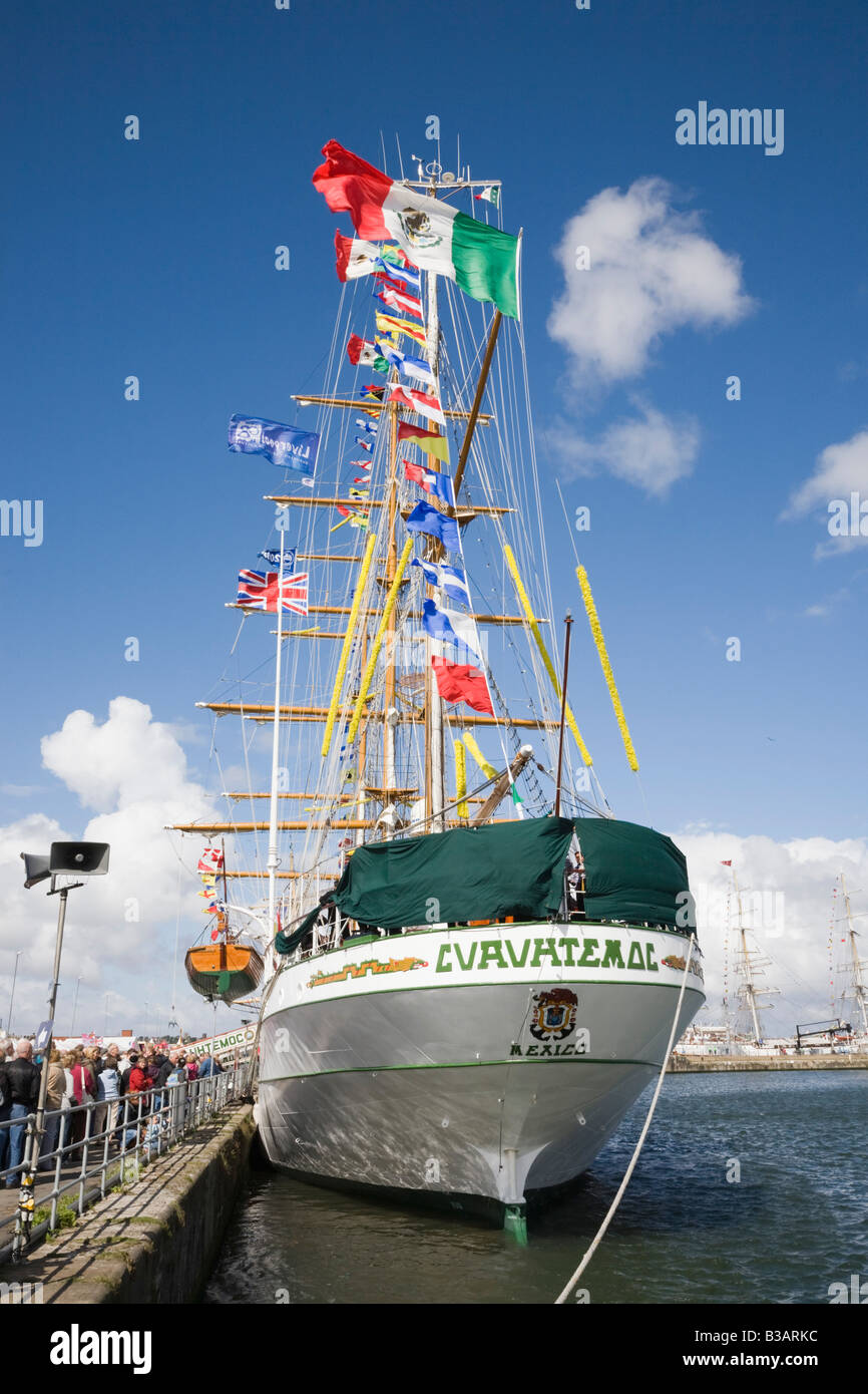 Liverpool Merseyside England UK Cuauhtemoc three masted Barque from Mexico in Tall Ships 2008 race berthed at Wellington - Stock Image