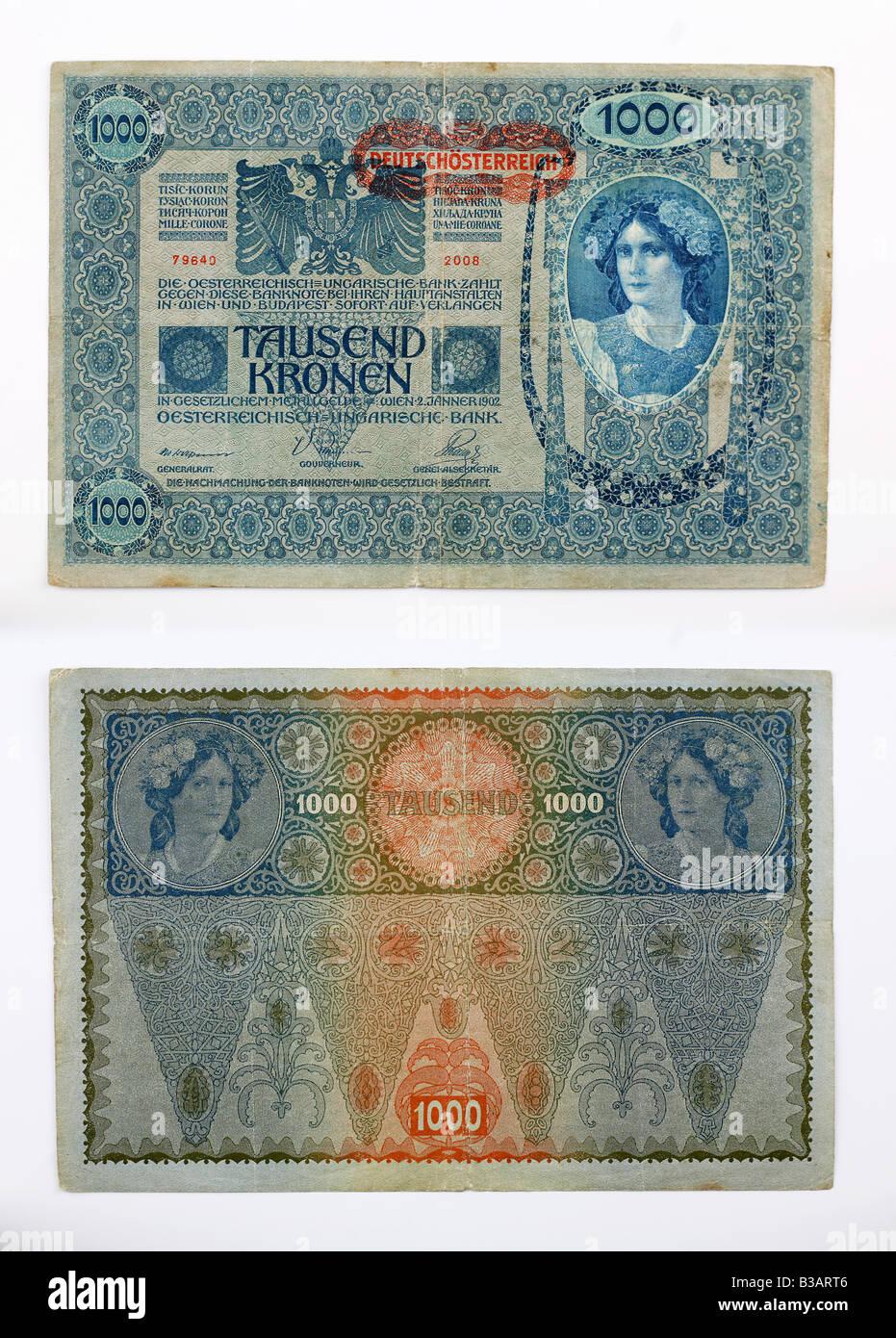 Paper money cash currency AUSTRIA TAUSEND KRONEN - Stock Image