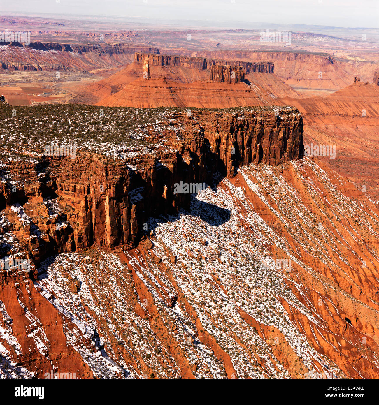 Aerial landscape of mesas in Canyonlands National Park Moab Utah United States Stock Photo