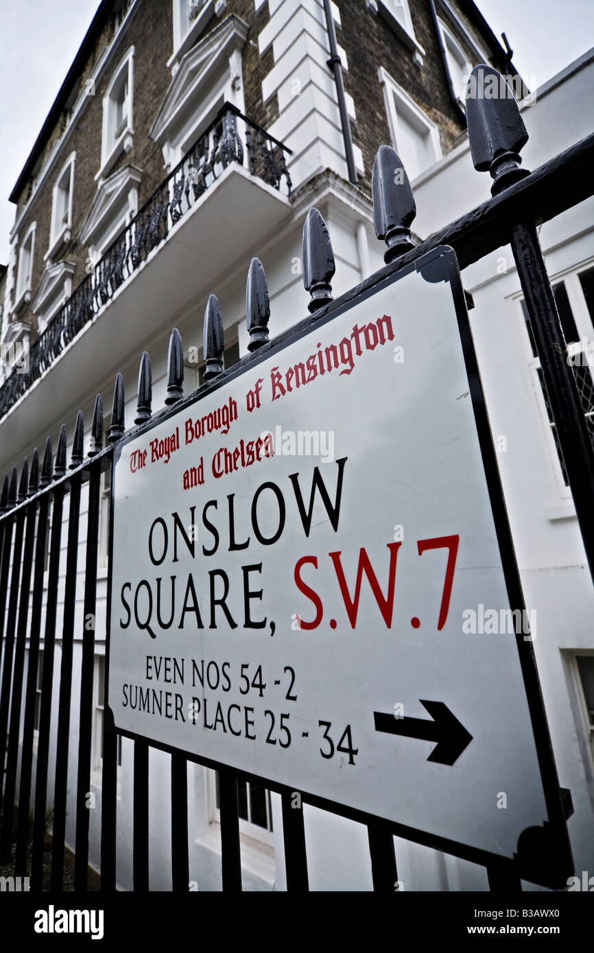 Townhouse in Onslow Square Kensington and Chelsea exclusive area of London SW7 UK - Stock Image