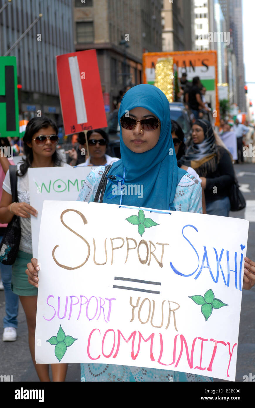Members of Sakhi a women s group against domestic violence march in the Indian Independence Day Parade - Stock Image