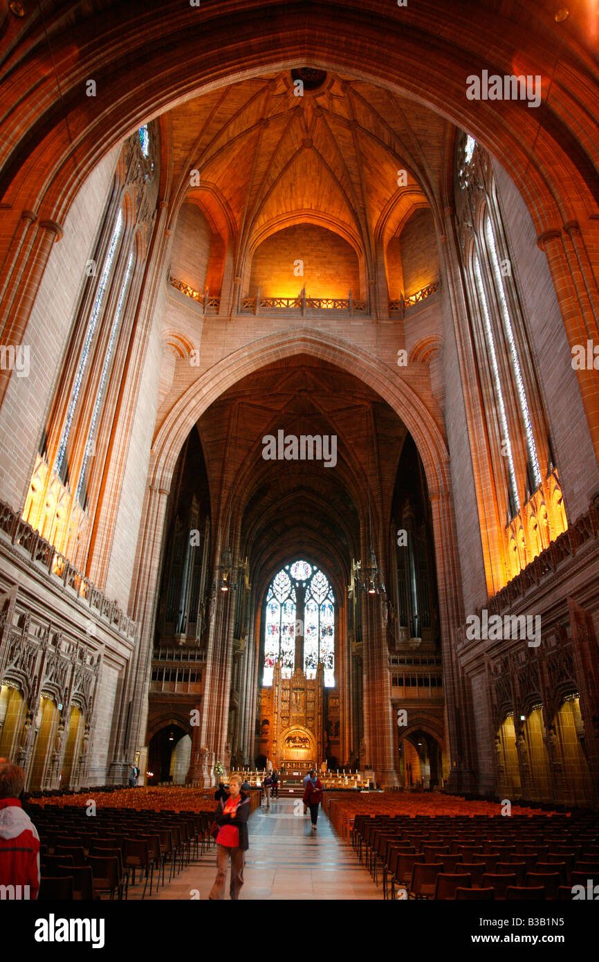 July 2008 - The interior of Liverpool Anglican Cathedral Liverpool England UK - Stock Image