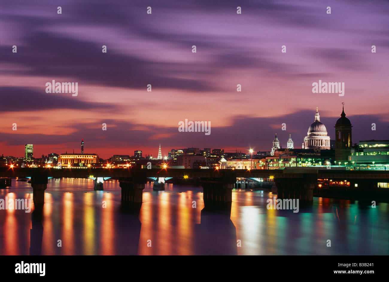 St Pauls Cathedral and the River Thames at dusk, London, England, UK Stock Photo