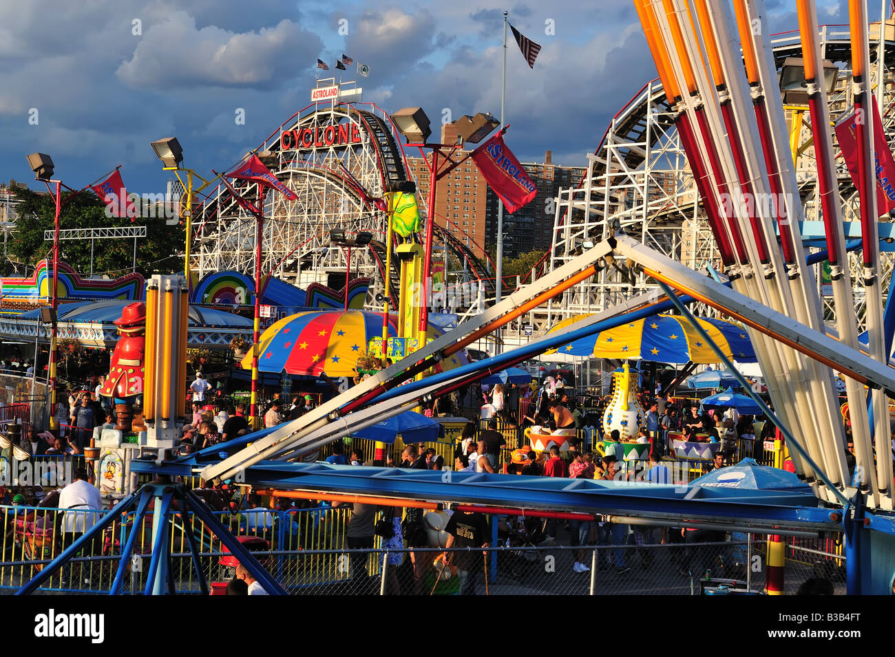 Astroland Park, Coney Island New York, including the famed Cyclone roller coaster - Stock Image