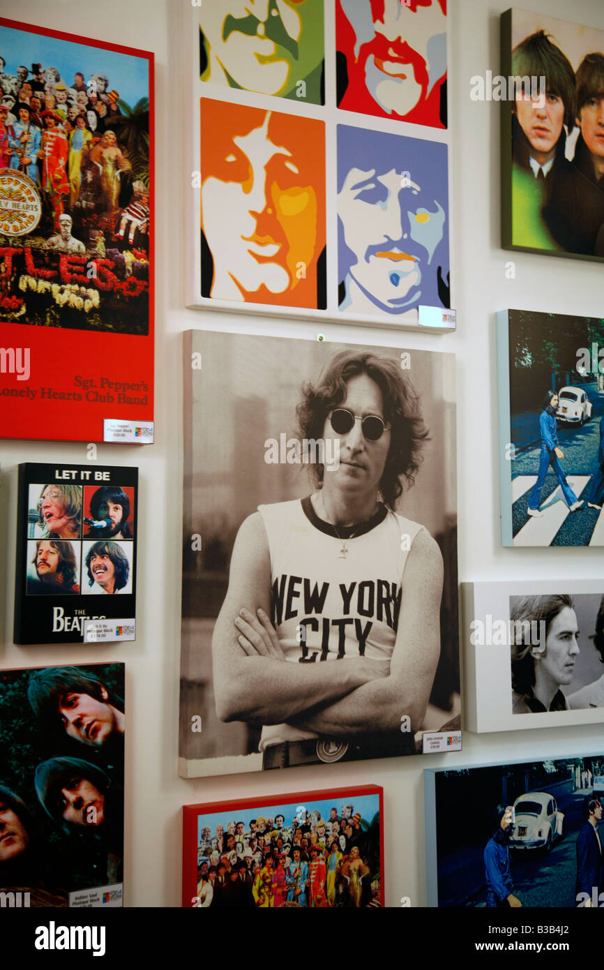 July 2008 - Beatles photos at the fab four store the Beatles Story museum Liverpool England UK - Stock Image
